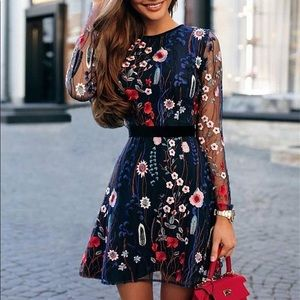 Dresses & Skirts - Embroidered Floral Lace Dress